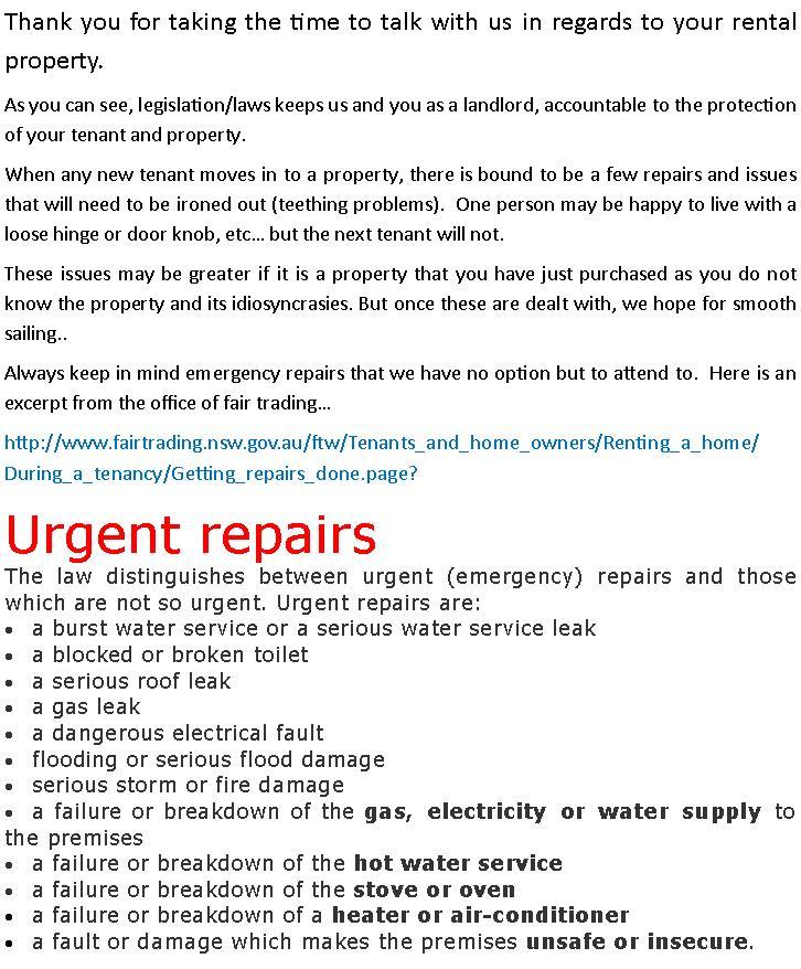 URGENT REPAIRS